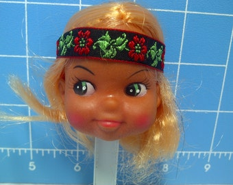 "Vinyl Indian Girl Doll Head Blonde Rooted Hair, Black with Red Trim and Flowers Headband, 3"" Tall with 3/4"" Neck"