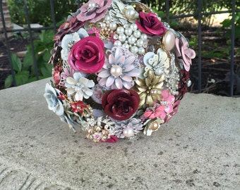 Brooch Bouquet/Mauve Bridal Bouquet/Ready to Ship Bouquet/Pink Brooch Bouquet/Country Wedding/Bohemian Wedding/Barn Wedding/Pink Bouquet