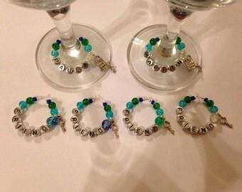 House Warming New Home Sweet Home Key Wine Glass Charms Gift Set (6)