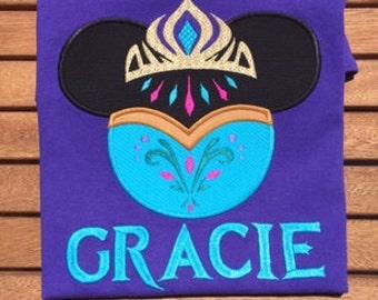 Elsa Coronation Applique Shirt Frozen Disney World Anna Shirt Minnie Mouse Ears Head Disney Family Shirts