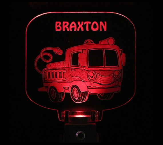 Fire Truck Engine Night Light Personalized Gift For Kids
