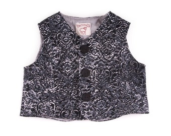 "Baby waistcoat in grey /black denim/ corduroy cotton, with ""flowers"""