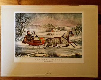 Currier and Ives Prints, double sided.
