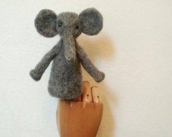 Ernest the elephant (needle felted finger puppet)