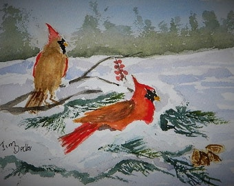RED CARDINAL PAINTING  Snow, Bird Painting, Small Painting, Winter Landscape, Original Watercolor, Fir Trees,