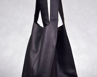 Huge Genuine Leather Broad Shopper Urban Style Black Color
