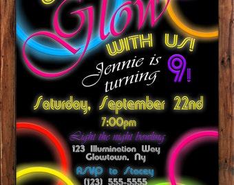 Neon invitation Etsy