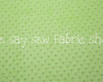 Minky Dimple Dot Fabric - Lime Green - By the yard