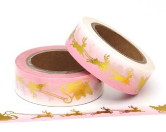 Washi Tape Christmas Sleigh Reindeer Gold Foil & Pink