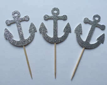 Glitter Anchor Cupcake Toppers