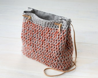 Crochet Grey and Red Bucket Bag