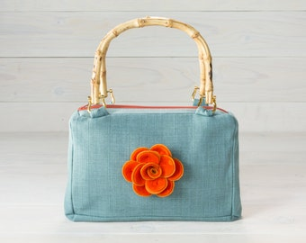 Baby Blue Purse with Orange Rose Felt flower and Bamboo Handles