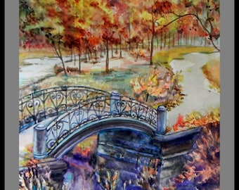 """Original Water Color painting, Vancouver Park in Fall-The Bridge, Paper size 11""""x14"""""""