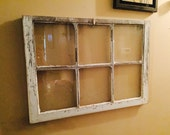 ON SALE Wreath hanger - christmas wreath hanger - 6 pane window wreath hanger - chippy window sash - 6 pane window decor - shabby 6 pane