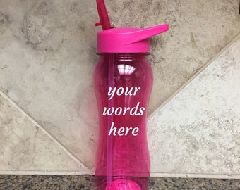 Custom water bottles with drink spout - pink water bottle - personalized water bottles - bachelorette party favors - fitness water bottle