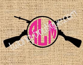Cross Rifles Monogram ~ Gun Two Color ~ Pistol ~ Custom ~ Vinyl ~ Decal ~ Sticker