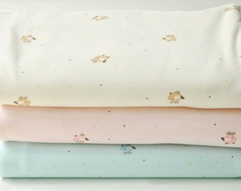 Organic Baby Cotton Knit Fabric, Brushed Stretch Soft, Very Wide and a Bit Heavy Weight, Pastel Yellow Pink Aqua -1/2 yard