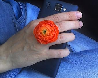 Orange ranunculus ring. Floral ring. Clay flower ring. Bright flower ring.