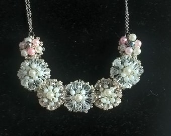 Beaded flower lace necklace