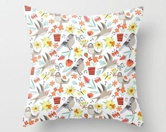 Kids Pillow Bird Print Kids Pillow boys room pillow Boys Nursery Pillow Gift Classroom Decor Spring Song Birds Cute Kids Print Pillow