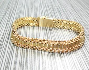 """Vintage Gold Bracelet 14k Gold Flexible Flat Link Bracelet Heavy Bracelet Yellow Gold Bracelet 1960's 7"""""""