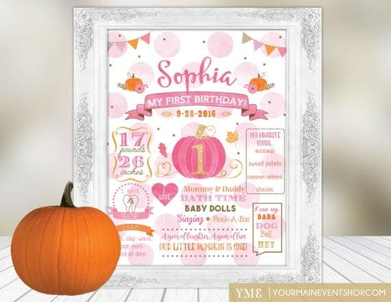 Pumpkin Birthday Poster | 1st Year Milestone Birthday Chalkboard Poster | First Birthday Board Printable Poster