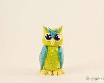 Lime Green and Bright Blue Spring Owl