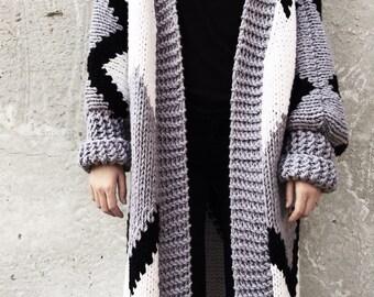 Chunky Cardigan, Cozy Wool Sweater, Cozy Long Knitwear