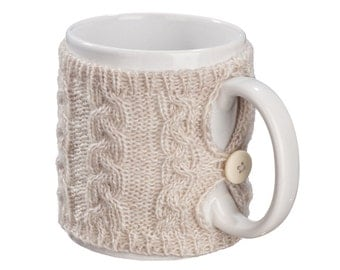 Mug Sweater, Cup Cozy, Reusable Coffee Sleeve Hand Protector, Drink Grip, Beige