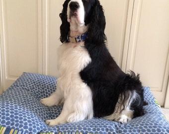 Fergus Dog Bed * Small * HGTV Home * Blue * Green * Stripes * Kravet * DotKat * Embroider * Custom Cover Dogbed Pillow * TSD