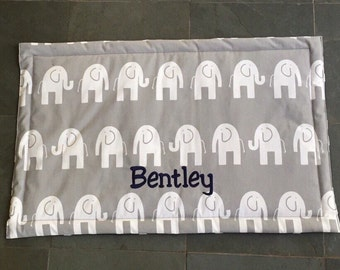 Dog Bed for Training || Personalized Puppy Mat || Dogbed Travel || Small || Gift || Navy Grey || Reversible || Elephants ||  Lilly ||