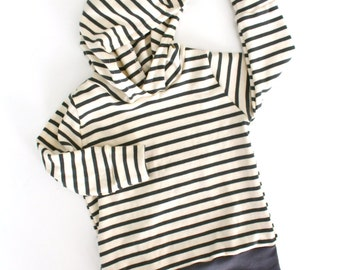 Hoodie in Natural & Charcoal Stripe - Organic Cotton