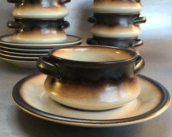 Set of 6 Rare Vintage MCM Mancioli Italy Porcelain 2 Handled Soup Bowls & Saucers