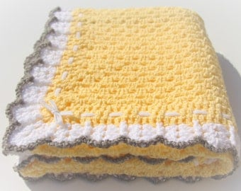 Yellow Baby Blanket, Crochet Baby Blanket, Granny Square, Crochet Afghan, Yellow Grey Blanket,  Handmade Blanket, Crochet Blanket, Blanket