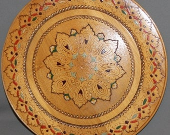 Vintage hand made pyrography wood plate
