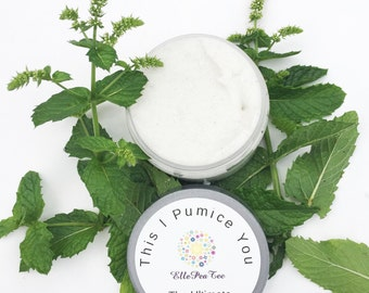 Foot scrub, Peppermint foot scrub, Pumice foot scrub, Exfoliating scrub, Pumice, Soap, Exfoliate,  Pedicure at home 4oz