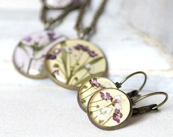 Boho earrings yellow jewelry set for bridesmaids set gift earrings for bridesmaid present Flower wedding gift for bridesmaid yellow necklace