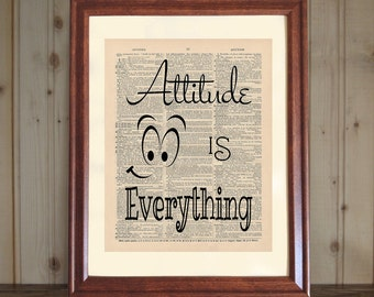Attitude Is Everything Dictionary Print, Inspiring Quote, Print about Attitude, Attitude Quote, Attitude Print - 5x7/8x10 Print Canvas Panel