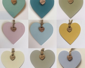 Small Wooden Painted Hanging Heart with Twine