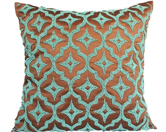 Brown Trellis Pillow Cover Brown Turquoise Pillow Cover Trellis Beaded Accent Pillow Sizes 14x14 16x16 18x18 20x20 22x22