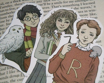 Harry Potter bookmarks: Gryffindor trio! (Harry Potter, Ron Weasley, Hermione Granger)