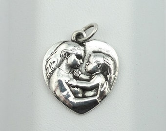 Solid Sterling Silver Mother And Child Charm Or Pendant