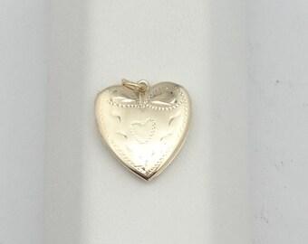 Lovely 14K Yellow Gold Engraves Heart Locket.  #14KLOCKET-LKT