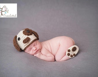 Newborn Doggie hat with booties - Newborn photography prop, newborn boy, newborn girl, crochet newborn hat and booties