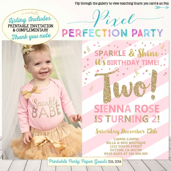 Girls Second Birthday Invitation Pink And Gold 2nd Birthday