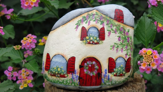 Painted Fairy Cottage Garden rock Miniature House gnome