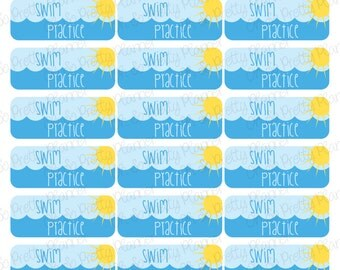 Swim Practice & Meet Stickers for your Planner -  Swim Lesson Stickers