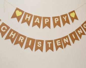 Happy Christening Bunting, Christening Decoration, Baptism Banner, Room Decoration