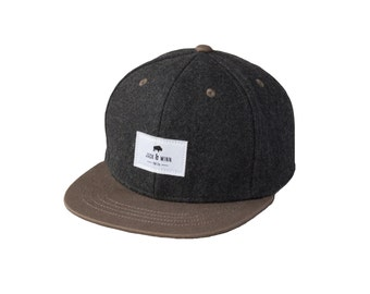 Hipster Baby and Toddler Snapback Hat - Charcoal Gray Wool