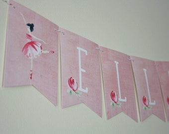 Ballerina Banner. Ballerina Theme. Custom. Birthday Decorations. Birthday Banner. Floral. Party Supplies. Paper Goods. First Birthday. Pink